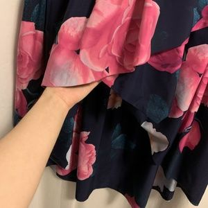 Eliza J Skirts - Eliza J Navy Floral Faux Wrap Hi-Low Skirt